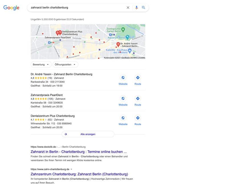 """Vereinfachte Google Suche nach """"Zahnarzt Berlin Charlottenburg"""""""