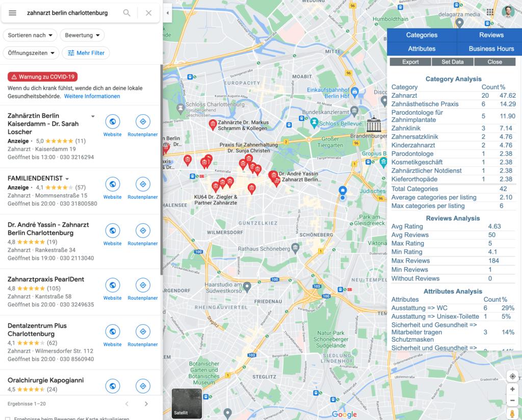 """Google Maps Suchanfrage zu """"Zahnarzt Berlin Charlottenburg"""" mit dem PlePer Local SEO Tool."""